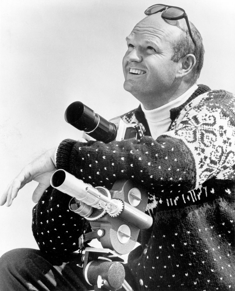 "Warren Miller was the host of a winter-sports series called ""The Ski Scene,"" which premiered in 1965. (Seattle Times archives)"