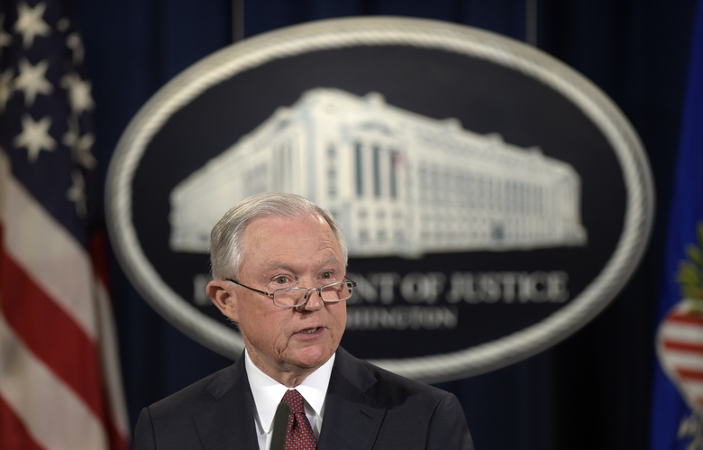 FILE – In this Sept. 5, 2017, file photo, Attorney General Jeff Sessions makes a statement at the Justice Department in Washington on President Barack Obama's Deferred Action for Childhood Arrivals, or DACA program. U.S. District Judge William Alsup on Tuesday, Jan. 9, 2018, granted a request by California and other plaintiffs to prevent President Donald Trump from ending DACA while their lawsuits play out in court. (AP Photo/Susan Walsh, File)