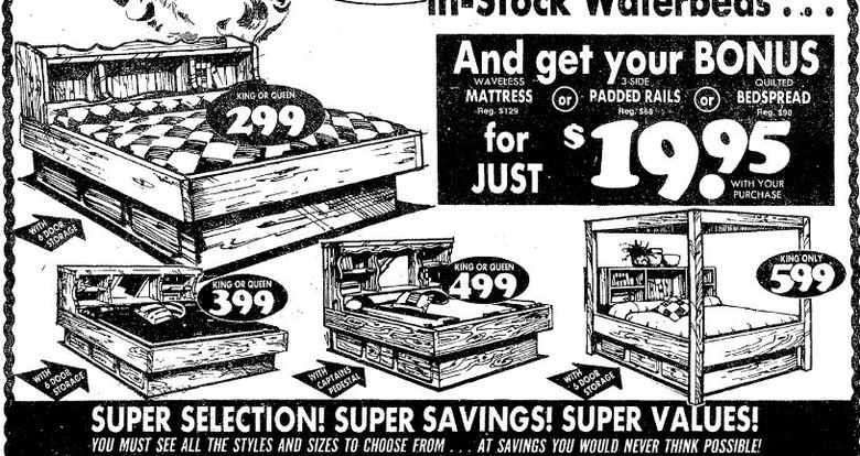 This ad ran in The Seattle Times on Dec. 4, 1982, for the Bedroom Emporium. That $299 sale-priced waterbed would cost you $755 in today's dollars. (Erik Lacitis/Seattle Times archives)