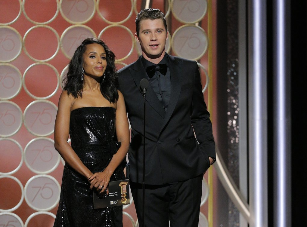 Presenters  Kerry Washington, left, and Garrett Hedlund at the 75th Annual Golden Globe Awards in Beverly Hills, Calif., on Sunday, Jan. 7, 2018. (Paul Drinkwater/NBC via AP)