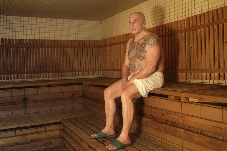 Boris Nayfeld poses for a picture at the Russian Baths in the Brooklyn borough of New York, Thursday, Jan. 18, 2018. New York's most notorious living Russian mobster wants to go back to the motherland. Recently released from his third stint in prison, this time for his role in a murder-for-hire plot turned extortion attempt, Nayfeld is divorced, broke and discouraged about his job prospects. (AP Photo/Seth Wenig)