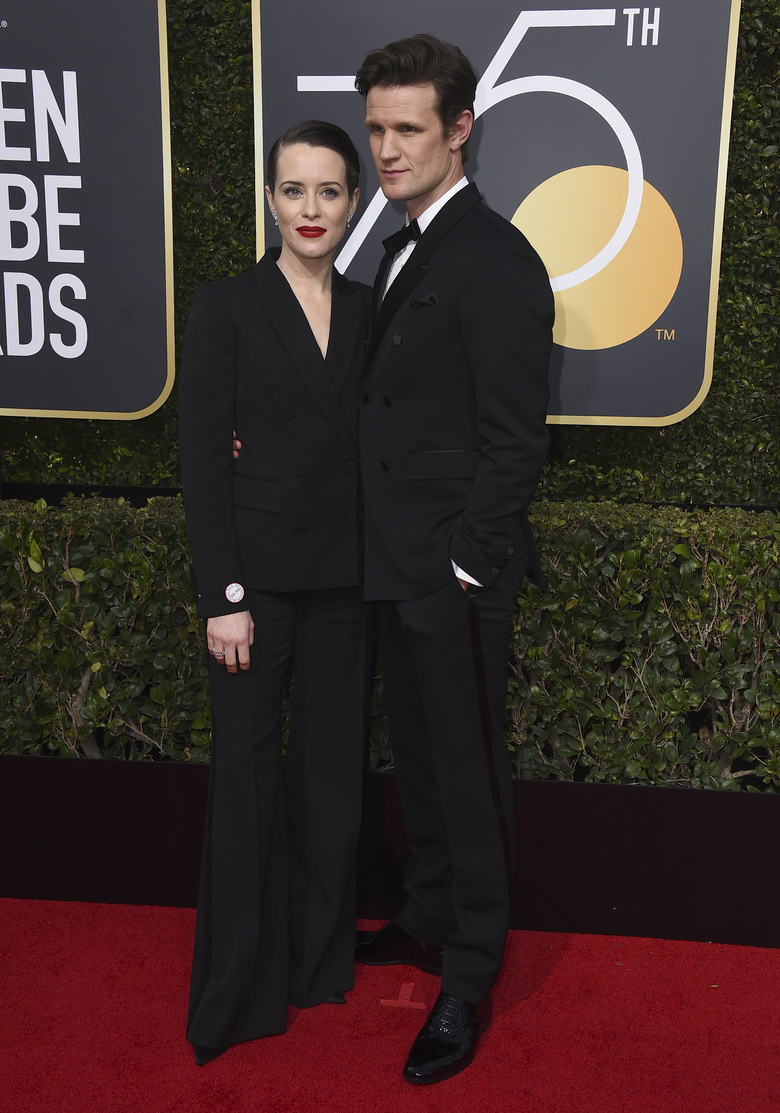 Claire Foy, left, and Matt Smith arrive at the 75th annual Golden Globe Awards at the Beverly Hilton Hotel on Sunday, Jan. 7, 2018, in Beverly Hills, Calif. (Photo by Jordan Strauss/Invision/AP)