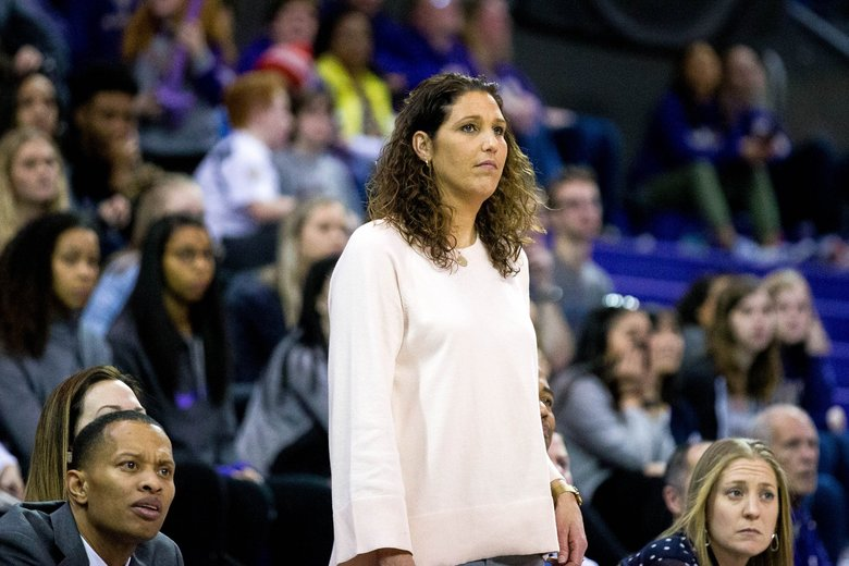 Washington Huskies head coach Jody Wynn watches her team during the second half against the Oregon State Beavers at Alaska Airlines Arena in Seattle on Sunday, Feb. 11, 2018. (Courtney Pedroza / The Seattle Times)