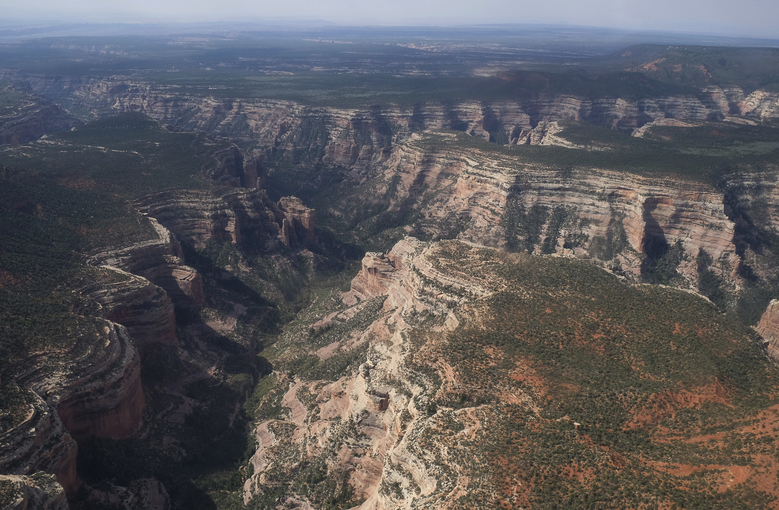 FILE – This May 8, 2017, file photo shows an aerial view of Arch Canyon within Bears Ears National Monument in Utah. The federal government says it doesn't have to release documents possibly outlining legal justifications for President Donald Trump to shrink national monuments because they're protected presidential communications. The U.S. Department of Justice on Friday, Feb. 9, 2018, made a second and far more detailed request asking a federal judge in Idaho to dismiss an environmental law firm's lawsuit seeking 12 documents withheld from a Freedom of Information Act request.(Francisco Kjolseth/The Salt Lake Tribune via AP, File)