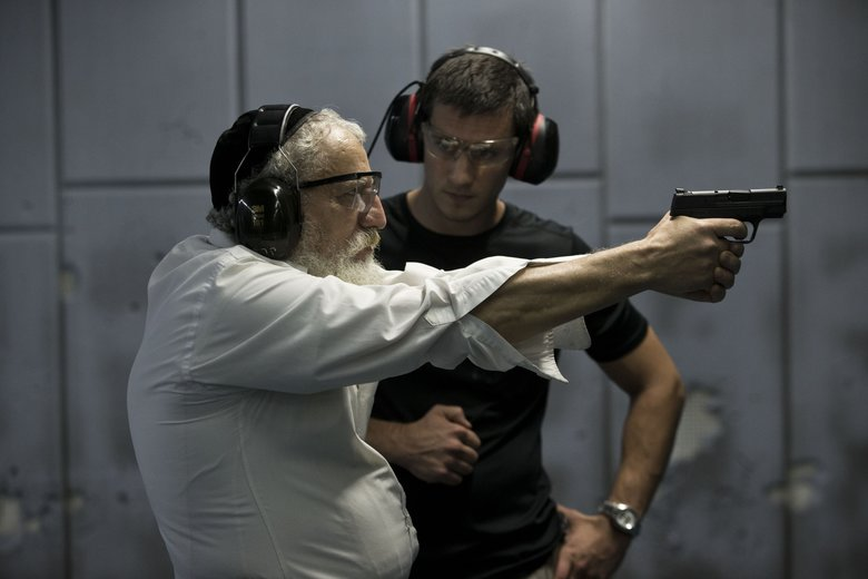 An Ultra Orthodox Jewish man practices at a shooting range in Jerusalem, Israel, in 2015.  (ABIR SULTAN/EPA)