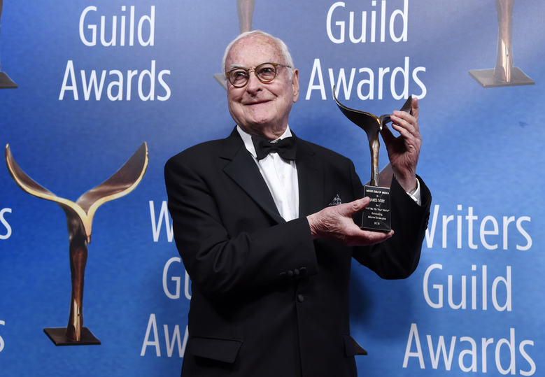 "James Ivory, co-writer of the film ""Call Me By Your Name,"" poses with his Outstanding Adapted Screenplay award backstage at the 2018 Writers Guild Awards at the Beverly Hilton on Sunday, Feb. 11, 2018, in Beverly Hills, Calif. (Photo by Chris Pizzello/Invision/AP)"