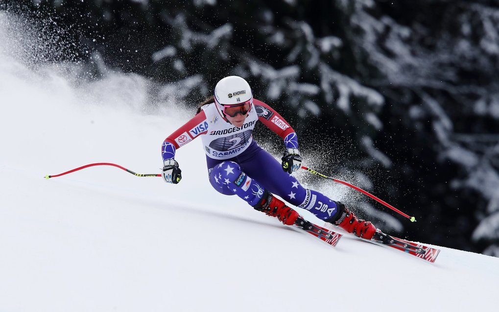 United States' Breezy Johnson competes during an alpine ski, women's world Cup downhill race, in Garmisch Partenkirchen, Germany, Sunday, Feb. 4, 2018. (AP Photo/Gabriele Facciotti)
