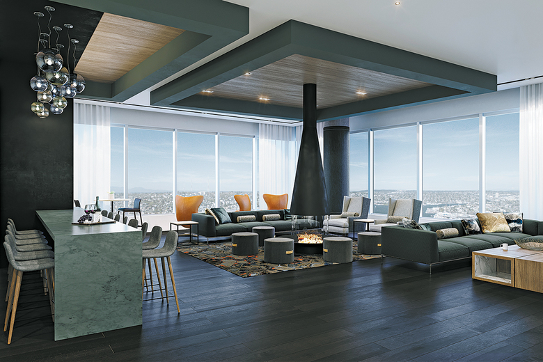 The 41st-floor Sky Club will have an entertaining lounge featuring a central fireplace.