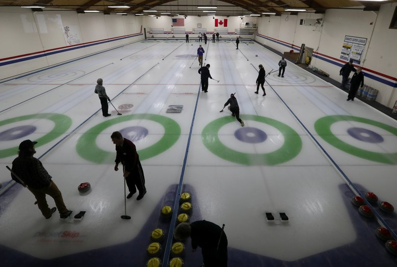 There are five sheets or lanes at the Granite Curling Club in North Seattle, home to many champions in the sport.  (Alan Berner/The Seattle Times)