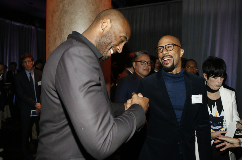 Kobe Bryant, and Common attend the 90th Academy Awards Nominees Luncheon at The Beverly Hilton hotel on Monday, Feb. 5, 2018, in Beverly Hills, Calif. (Photo by Danny Moloshok/Invision/AP)