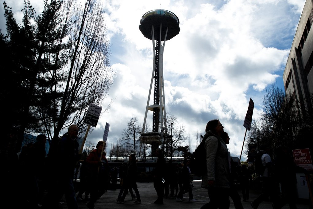 Thousands participate in the March For Our Lives from Cal Anderson Park to Seattle Center in Seattle on Saturday. (Courtney Pedroza / The Seattle Times)