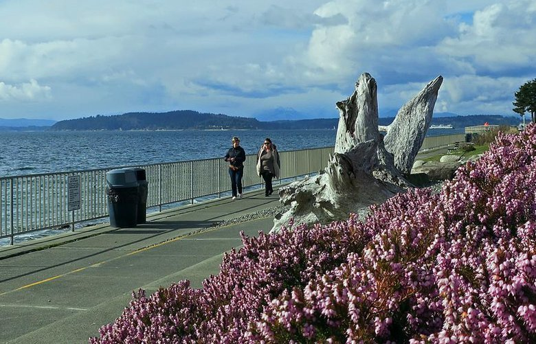 Walkers enjoy the views from Constellation Park near Alki Point in West Seattle. (John Nelson photo)