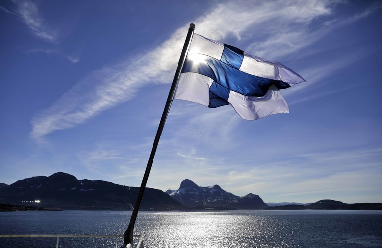Finland's flag flies aboard the icebreaker MSV Nordica last year. Finland and other Nordic nations often come out on top, be it in quality of life, education or health care, when it comes to happiness rankings. (AP Photo/David Goldman, file)