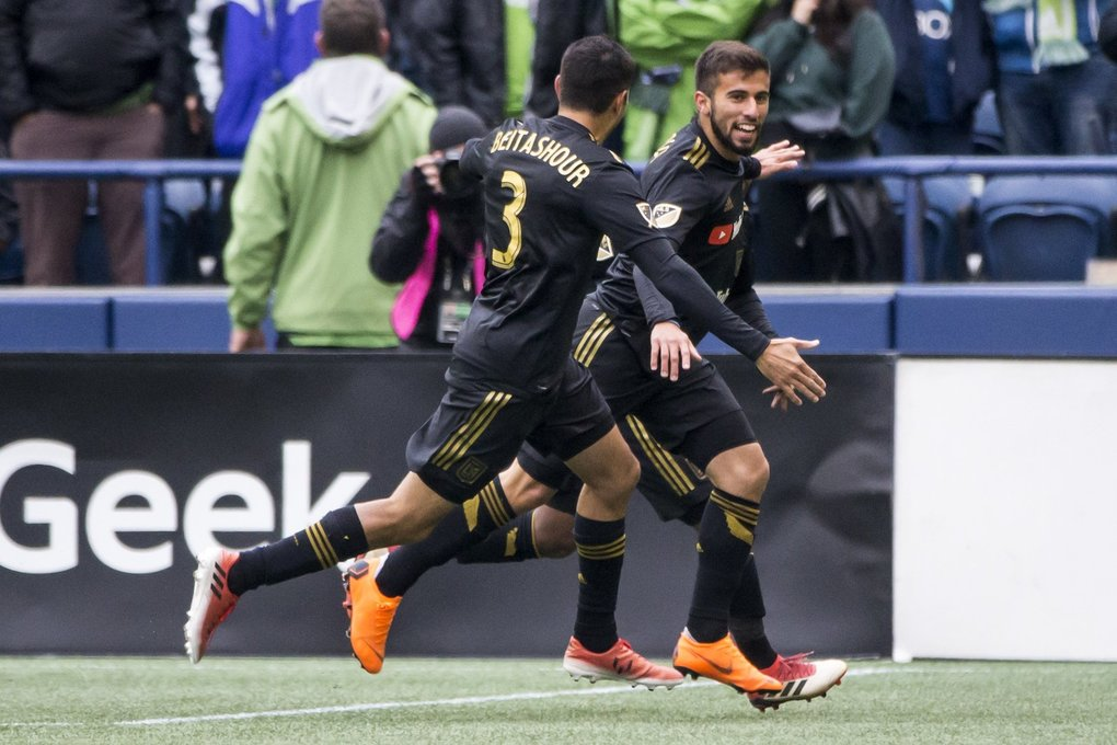 Los Angeles forward Diego Rossi celebrates his goal, just 10 minutes in to the match as the Seattle Sounders FC take on Los Angeles FC for their home opener at CenturyLink Field in Seattle Sunday March 4, 2018. (Bettina Hansen / The Seattle Times)
