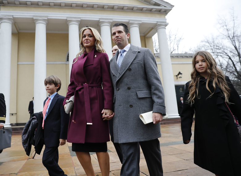 Donald Trump Jr., wife Vanessa Trump, and their children Donald Trump III, left, and Kai Trump, right, in 2018 after attending church service at St. John's Episcopal Church across from the White House in Washington. (AP Photo/Pablo Martinez Monsivais, file)