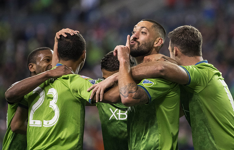 Clint Dempsey quieted the Chivas fans with his goal in the 78th minute.  That would be the decider as the Sounders would defeat Chivas 1-0 in the 1st leg of the quarterfinals.  C.D. Guadalajara played the Seattle Sounders FC in CONCACAF Champions League play Wednesday, March 7, 2018 at CenturyLink Field in Seattle.
