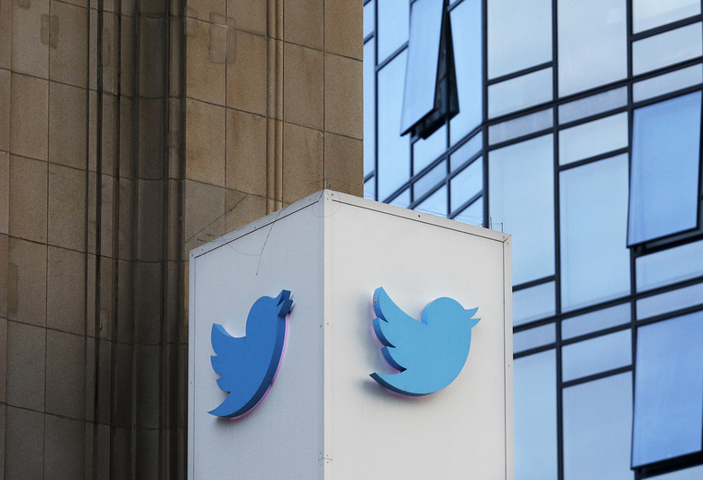 FILE – This Oct. 26, 2016 file photo shows a Twitter sign outside of the company's headquarters in San Francisco. A new study published Thursday, March 8, 2018, in the journal Science shows that false information on the social media network travels six times faster than the truth and reaches far more people.   (AP Photo/Jeff Chiu), File