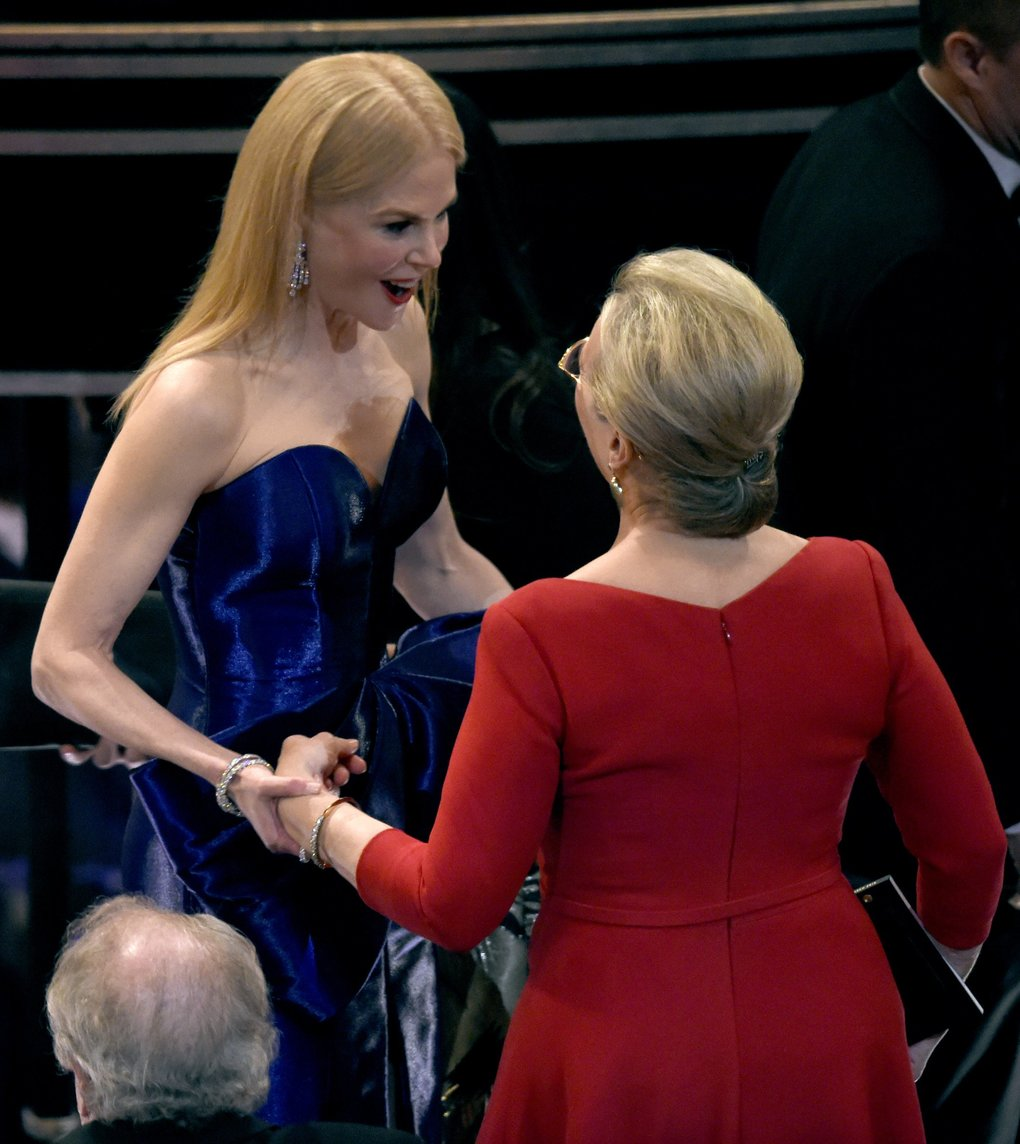 Nicole Kidman, left, greets Meryl Streep in the audience at the Oscars on Sunday, March 4, 2018, at the Dolby Theatre in Los Angeles. (Photo by Chris Pizzello/Invision/AP)