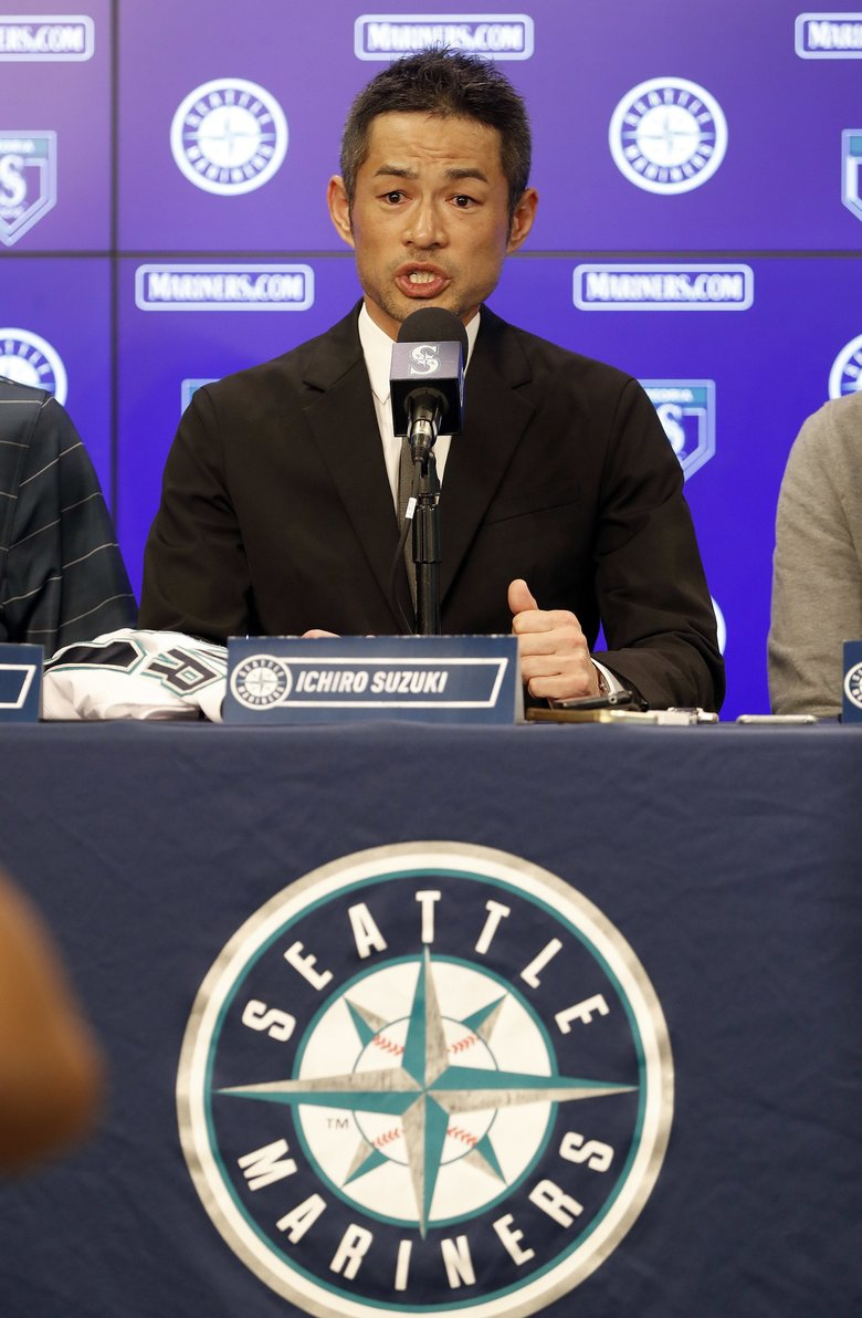 Ichiro speaks at a news conference after signing a one year deal to return to the Mariners. (AP Photo/Matt York)