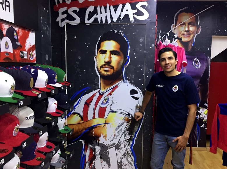 Ricardo Alvarado, manager of one of four official Chivas team stores, says he will be rooting for the local club in Wednesday's Champions League match. He added that the match is important to all of Mexico because Chivas does not allow foreign players on its team. (Geoff Baker)
