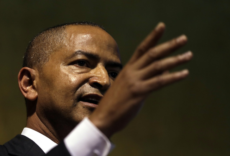 Moise Katumbi, Congolese opposition leader, speaks at a three-day forum, delegates at a resort hotel near Johannesburg, South Africa, Monday, March 12, 2018.  Congolese opposition leader and other figures opposed to longtime President Joseph Kabila met in South Africa on Monday to build a coalition ahead of long-delayed elections in the turbulent, resource-rich country. (AP Photo/Themba Hadebe)