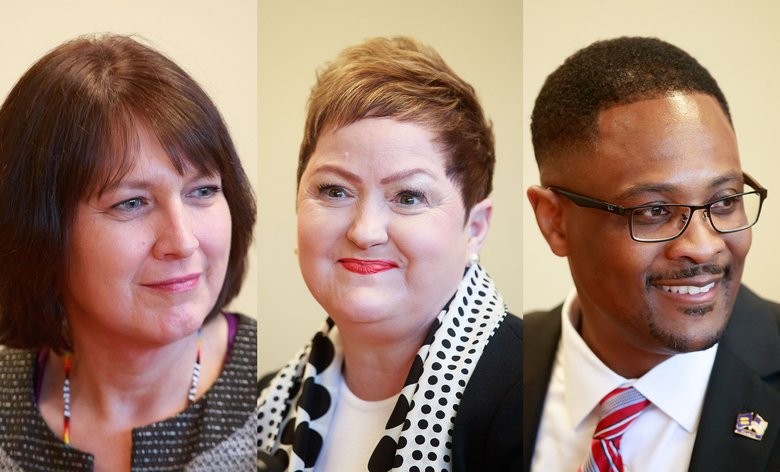 From left: Denise Juneau, Jeanice Kerr Swift and Andre Spencer are the three finalists for the next Seattle School District superintendent. (Erika Schultz / The Seattle Times)