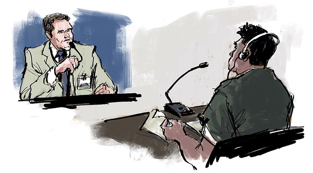 A detainee uses headphones to hear a courtroom interpreter. (Sketch by Gabriel Campanario / The Seattle Times)