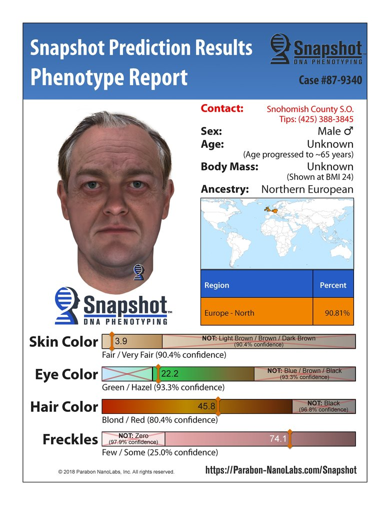 A composite image made by Paragon NanoLabs based on trait predictions for the murder suspect at age 65.