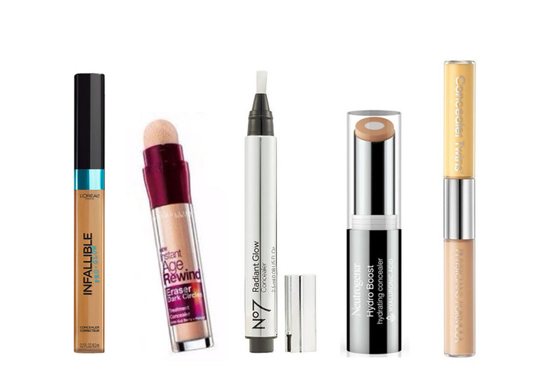 From left: L'Oreal Paris Infallible Pro Glow Concealer, $8; Maybelline  Instant Age Rewind Eraser, $9; No7  Radiant Glow Concealer, $14; Neutrogena Hydro Boost Concealer, $13; Physician's Formula Twin Cream Concealer, $6