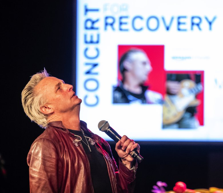 """We've lost too many artists to addictions and mental-health issues,"" Mike McCready said Thursday night after accepting a music-industry award for his contributions to addiction recovery. It was part of a celebration at the Showbox. (Dean Rutz / The Seattle Times)"