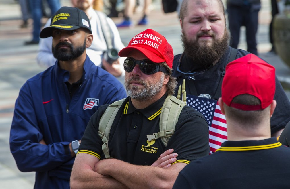 The Proud Boys and others attend a Patriot Prayer rally in Seattle's Westlake Park. (Ellen M. Banner / The Seattle Times)