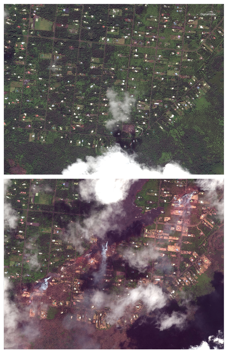This combination of satellite images provided by DigitalGlobe shows the Leilani Estates subdivision by the Kilauea volcano near Pahoa, Hawaii, on May 24, 2017, top, and May 14, 2018, bottom, after the recent volcanic activity. (Satellite Image ©2018 DigitalGlobe, a Maxar company via AP)