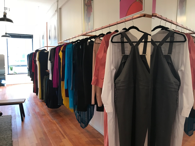 The new Universal Standard showroom in Seattle's Belltown neighborhood is staffed by fit and style experts who schedule one-hour appointments with clients. (Monica Mulloy)