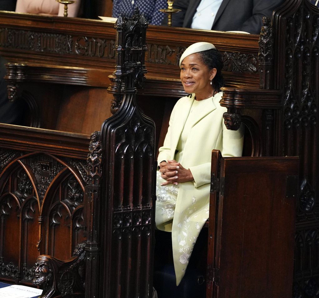 Doria Ragland takes her seat, prior to the start of the wedding ceremony of Prince Harry and Meghan Markle at St. George's Chapel in Windsor Castle in Windsor, near London, England, Saturday, May 19, 2018. (Dominic Lipinski/pool photo via AP)