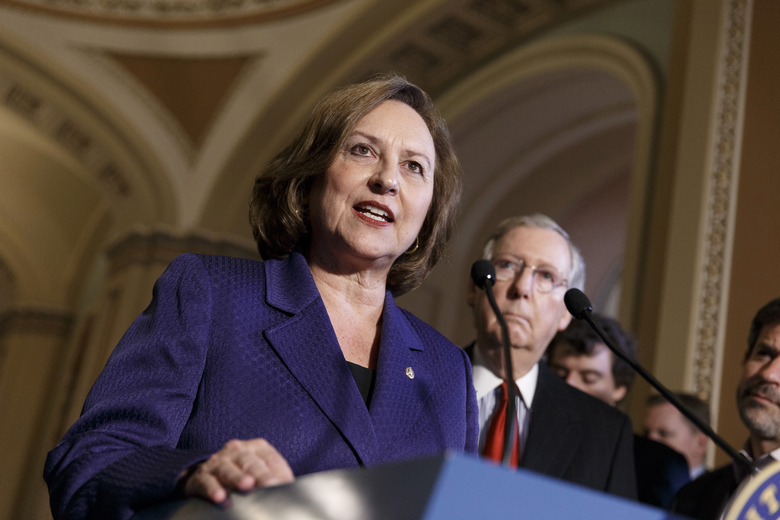 FILE – In this April 8, 2014, file photo, Sen. Deb Fischer, R-Neb., accompanied by Senate Minority Leader Mitch McConnell of Ky., talks during a news conference on Capitol Hill in Washington. Nebraska voters on Tuesday, May 15, 2018, will pick U.S. Senate nominees for both parties out of crowded fields of candidates who hope to claim the seat held by incumbent Fischer. (AP Photo/J. Scott Applewhite, File)