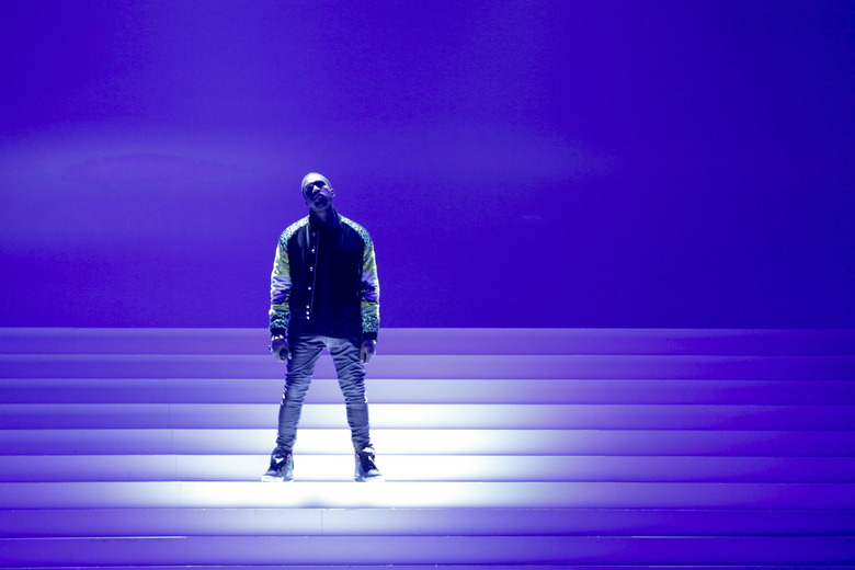 Kanye West takes the stage in New York.  (Erin Baiano / The New York Times, 2011)