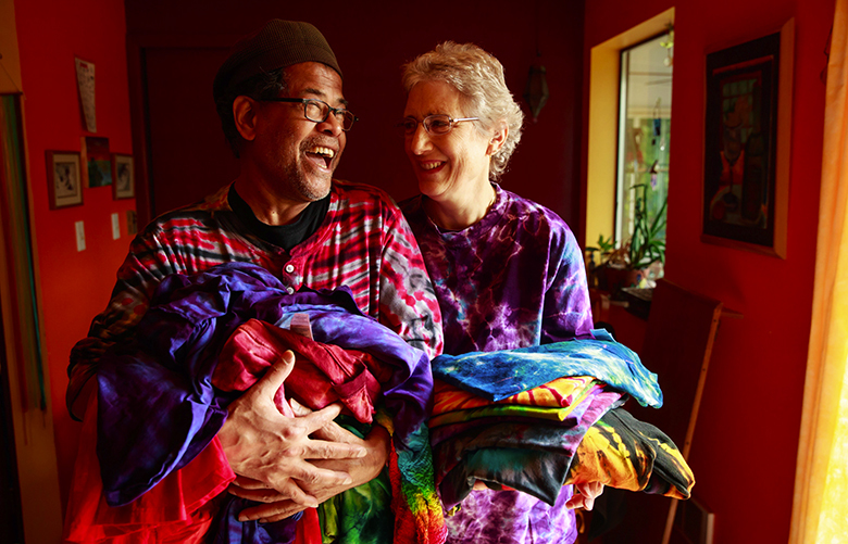 Arun Das and Frances DeGiulio Das are photographed in their Seattle home Thursday, May 10, 2018. The couple started their business Das & Das Handmade Batik at Pike Place Market March 1983. The Das' said they love the creativity of their work, learning new techniques and the freedom of owning their own business.