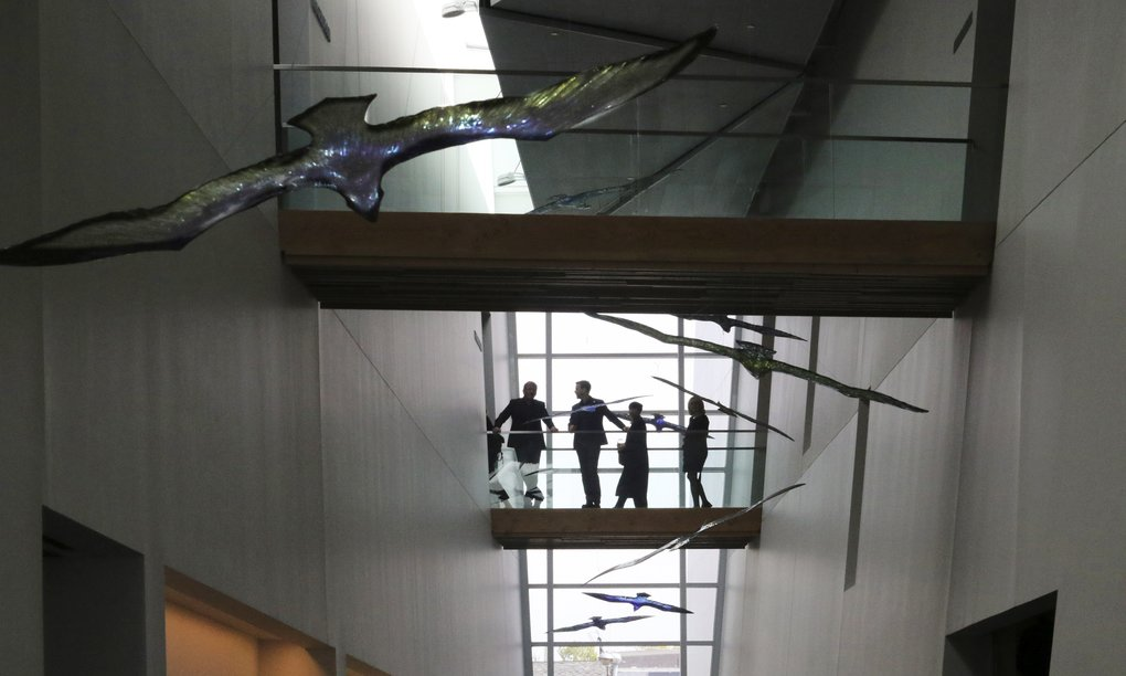 Above: Overhead walkways provide sweeping views of the interior of the Nordic Museum.  (Alan Berner/The Seattle Times)