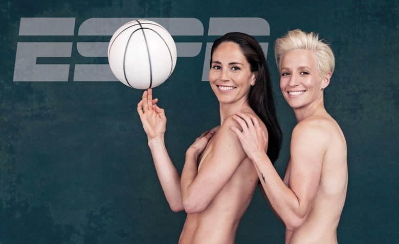 Sue Bird, left, and Megan Rapinoe on the cover of ESPN (Photo by Radka Leitmeritz / Courtesy ESPN The Magazine)
