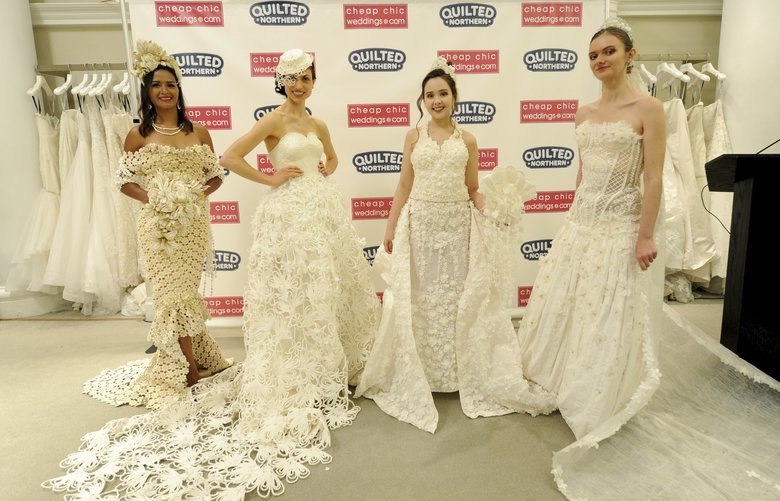 IMAGE DISTRIBUTED FOR QUILTED NORTHERN – The top three winning wedding dress designs and the fan favorite, left, are modeled at the 2018 Toilet Paper Wedding Dress Contest presented by Cheap Chic Weddings and Quilted Northern, Wednesday, June 20, 2018 at Kleinfeld Bridal in New York. The fashion show finale event highlighted the top 10 designs from more than 1,500 entries submitted to the competition. (Diane Bondareff/AP Images for Quilted Northern) CPANY302 CPANY302