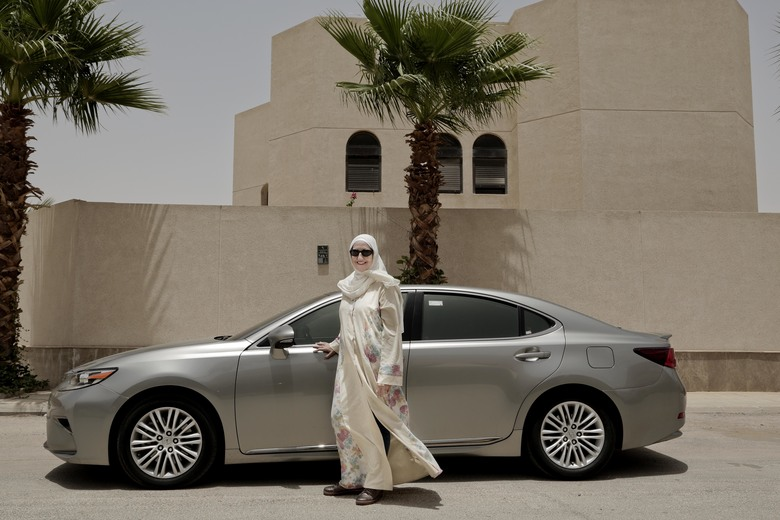 Ammal Farahat, of Saudi Arabia, has signed up to be a driver for Careem, a local competitor to Uber.  (Nariman El-Mofty/AP)