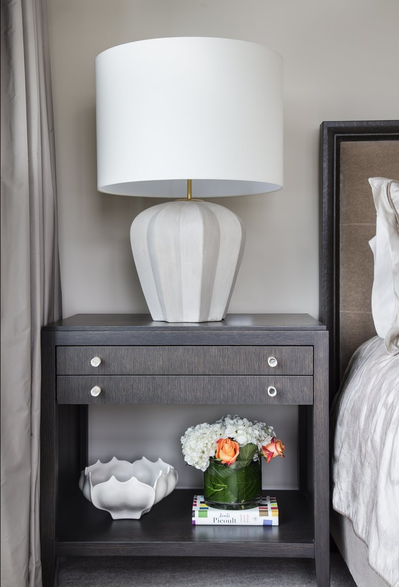 A Bedside Table By Uchytilu0027s Custom Woodworking Nestles Between A Custom  Bed By LeeAnn Baker Interiors
