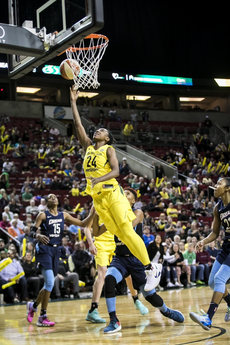 Storm guard Jewell Loyd puts in a layup to bring Seattle within two points of Atlanta during their fourth-quarter comeback as the Seattle Storm take on the Atlanta Dream at KeyArena in Seattle Sunday June 10, 2018.  (Bettina Hansen / The Seattle Times)