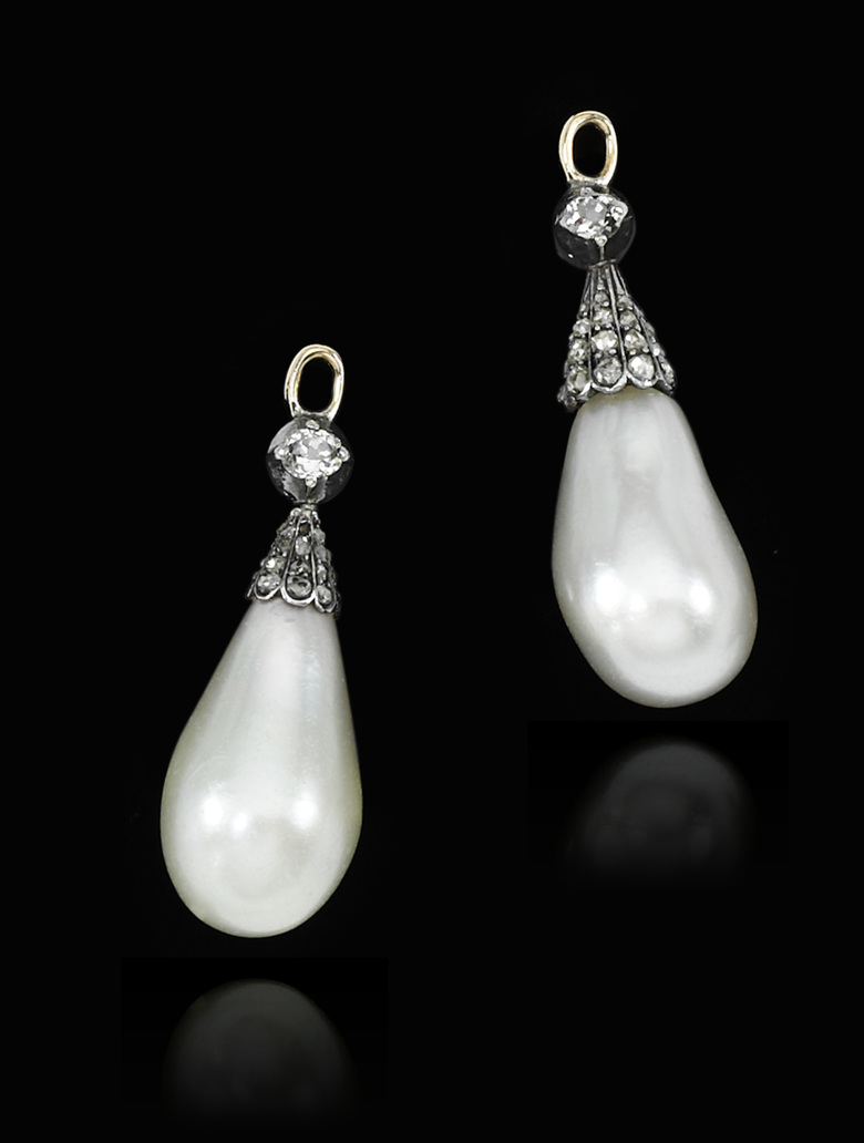 "This undated handout photo released by Sotheby's Geneva shows a pair of natural pearl drop earrings that once belonged to Marie Antoinette, expected to sell for $30,000-50,000. One of the most famous royal jewellery collections ever to come to auction will be coming to Sotheby's in Geneva on 12 Nov. 2018. Entitled ""Royal Jewels from the Bourbon-Parma Family"", the auction will span centuries of European history, from the reign of Louis XVI to the fall of the Austro-Hungarian Empire, and will offer fascinating insights into the splendor of one of Europe's most important royal dynasties. (Sotheby's Geneva via AP)"
