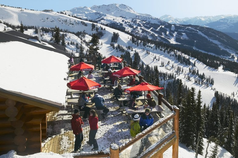 Crystal Hut on Blackcomb Mountain is a prime place to eat and soak up the sun in good weather at Whistler. (Randy Lincks)