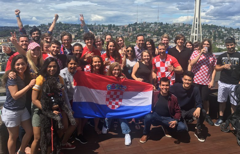Andrea Kunza organized a rooftop watch party for the Croatia vs. Russia game last Saturday, July 7, 2018 in downtown Seattle.