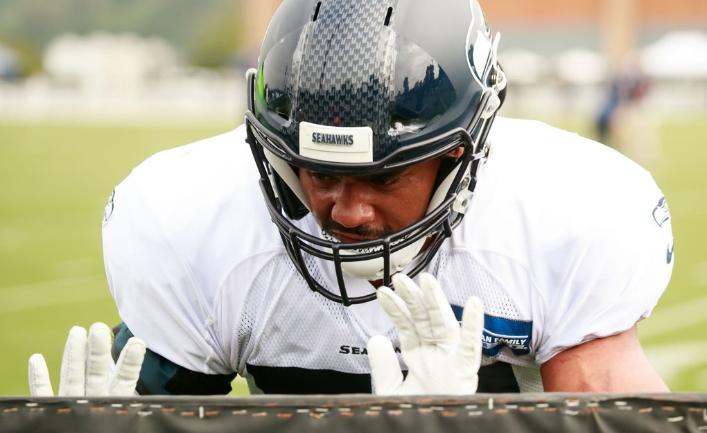 D.J. Alexander (57) practices during Seattle Seahawks training camp on Tuesday. (Erika Schultz / The Seattle Times)