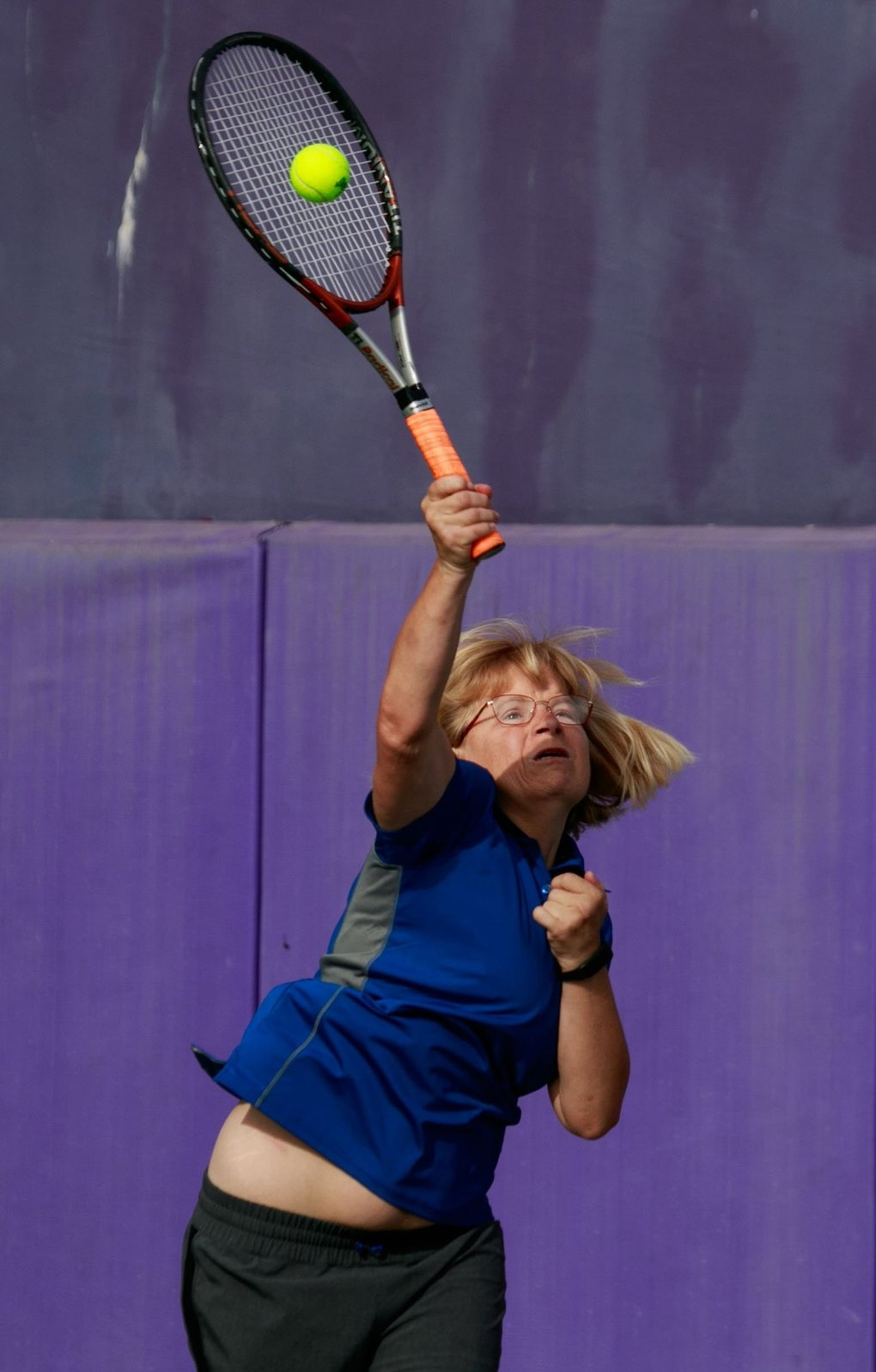 Heidi Sand, of Southern California, competes with Michael Roth during the Special OlympicsUSAGames at the University of Washington in Seattle on Wednesday. (Erika Schultz / The Seattle Times)
