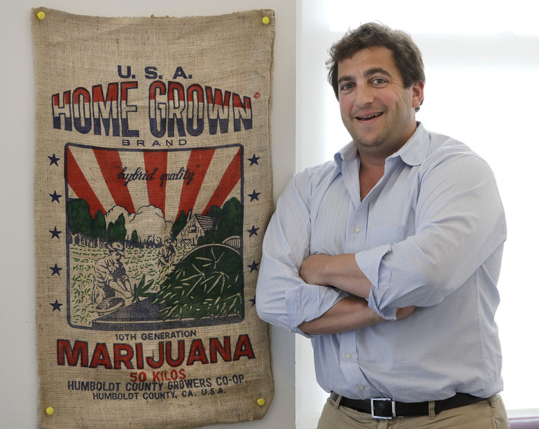 In this Wednesday, July 11, 2018, photo, Ben Kovler, CEO, Green Thumb Industries poses for a portrait at the company's office in Chicago. Green Thumb Industries had a business plan, expertise and plenty of ambition, but didn't have access to enough capital to grow its marijuana business. Last month, the company with $20 million in revenue from pot shops in seven states turned its gaze north and went public in Canada, where marijuana soon will be broadly legalized nationwide. (AP Photo/Charles Rex Arbogast)