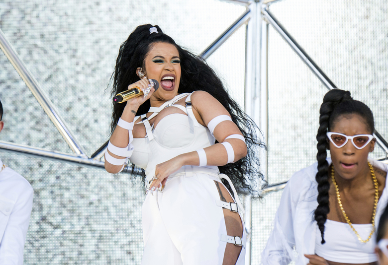 FILE – In this April 22, 2018 file photo, Cardi B performs at the Coachella Music & Arts Festival in Indio, Calif. The 25-year-old rapper welcomed Kulture Kiari Cephus during a post on Instagram Wednesday, July 11. The girl was born Tuesday. (Photo by Amy Harris/Invision/AP, File)